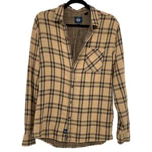 Dockers alpha khaki tan plaid flannel button down